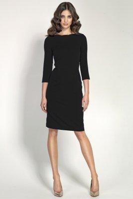 Czarna elegancka sukienka z falowanym dekoltem - S30