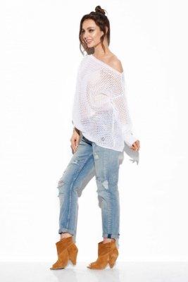 Ażurowy lekki sweter LS280 biały