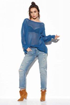 Ażurowy lekki sweter LS280 jeans