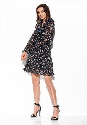 Szyfonowa sukienka z jedwabiem i żabotem wzór LG518 druk 15