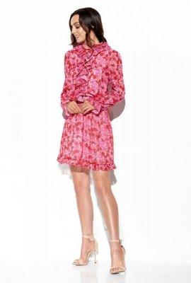 Szyfonowa sukienka z jedwabiem i żabotem wzór LG518 druk 17