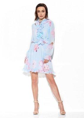 Szyfonowa sukienka z jedwabiem i żabotem wzór LG518 druk 18