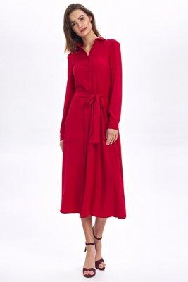 Sukienka MIDI z kołnierzykiem - czerwony - CS51