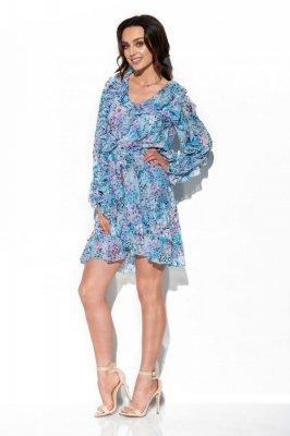 Szyfonowa sukienka z jedwabiem i falbankami wzór LG517 druk 14