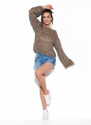 Ażurowy sweter z rozszerzanym rękawem LS291 capucino