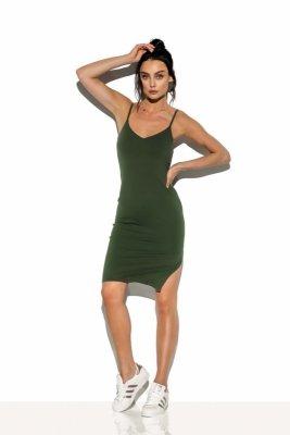 Basicowa bawełniana sukienka na ramiączkach LN118 khaki