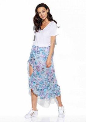 Długa spódnica z falbaną i jedwabiem LG542 druk 14