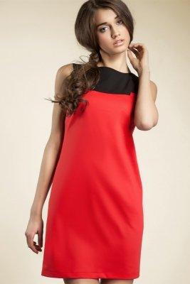Krótka czerwona sukienka dwukolorowa - S25