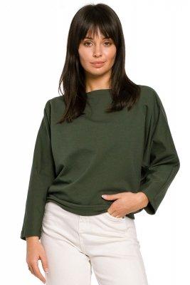 B139 Bluza nietoperz z guzikami i wiązaniem z tyłu - khaki