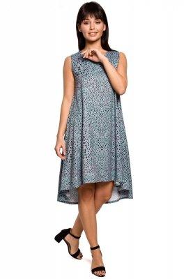 B141 Sukienka z nadrukiem bez rękawów - miętowa