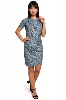 B143 Sukienka z nadrukiem i zakładkami - miętowa