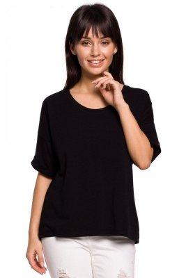 B147 T-shirt oversize z dekoltem i haftem - czarny