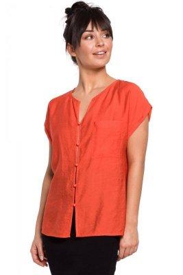 B150 Bluzka z krótkimi rękawami zapinana na guziki - pomarańczowa