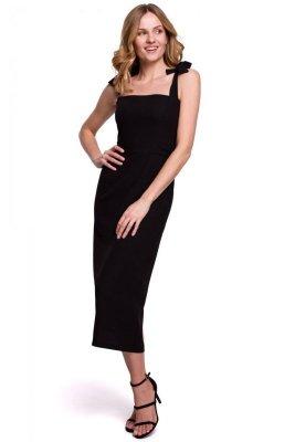 K046 Sukienka midi z wiązanymi ramiączkami - czarna