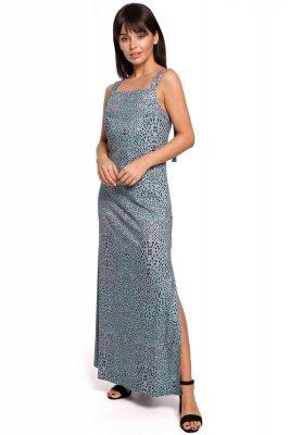 B152 Sukienka maxi na regulowanych ramiączkach - miętowa