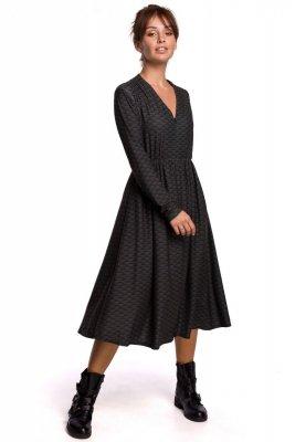 B170 Sukienka we wzór rozkloszowana z zamkiem - model 1