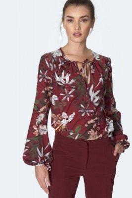 Bordowa bluzka z wiązaniem na dekolcie w kwiaty - B127