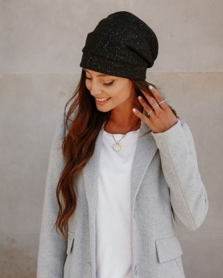 Modna oversizowa czapka z wełną LGK123 czarny