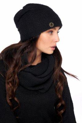 Basicowy komplet czapka z perełką i komin LC141 czarny