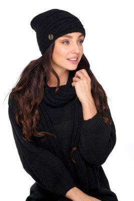 Komplet czapka i szalik z wełną LC125 czarny