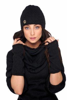 Zestaw czapka,komin i rękawiczki LC133 czarny