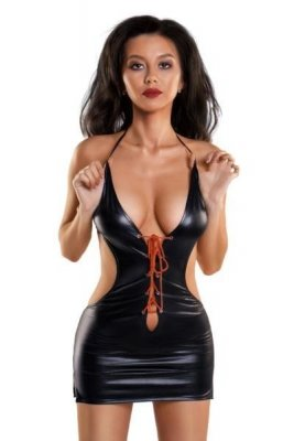 Erotic Wetlook dress with a deep neckline JULIE