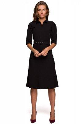 S231 Sukienka z kołnierzykiem i zamkiem z przodu - czarna