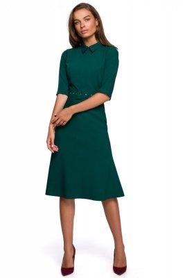 S231 Sukienka z kołnierzykiem i zamkiem z przodu - zielona