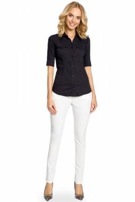 M027 Klasyczna taliowana koszula mankiety - czarna