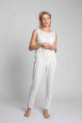 LA025 Spodnie do spania z wąskimi nogawkami - ecru