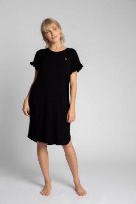 LA030 Koszula nocna z falbankami - czarny