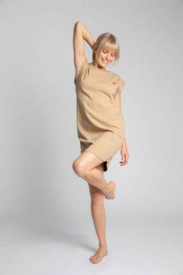 LA033 Sukienka z bawełny prążkowanej bez rękawów - cappuccino