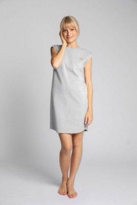 LA033 Sukienka z bawełny prążkowanej bez rękawów - popielaty