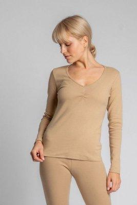 LA034 Bawełniana bluzka z długimi rękawami - cappuccino