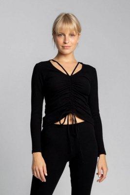 LA038 Bawełniana bluzka z szianiny prążkowanej - czarny