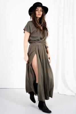 Kopertowa sukienka z rozcięciem LN115 khaki
