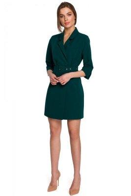 S254 Sukienka żakietowa z paskiem - zielona