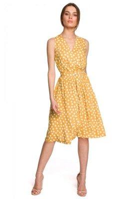 S264 Sukienka bez rękawów z paskiem - żółta
