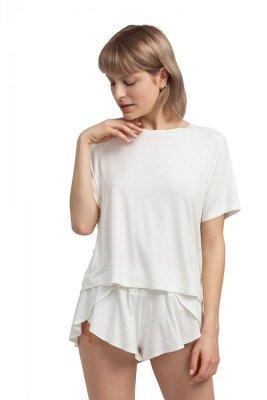 LA044 Wiskozowa bluzka do spania - ecru