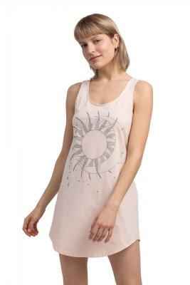 LA050 Bawełniana koszulka nocna - brzoskwiniowa