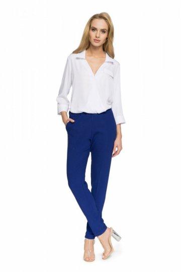 bb52be64f7dcb8 S052 Bluzka koszulowa z zakładką - biała - 4 - Bluzki rękaw 3 4 ...