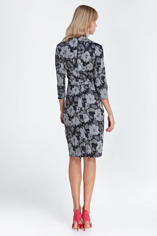 Sukienka z dekoltem w serek - kwiaty - CS01