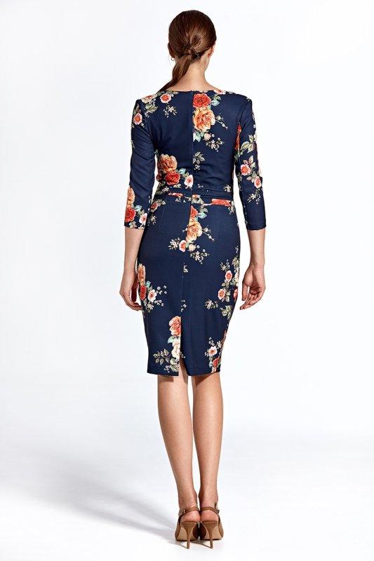 Sukienka cs28 - kwiaty/granat - CS28