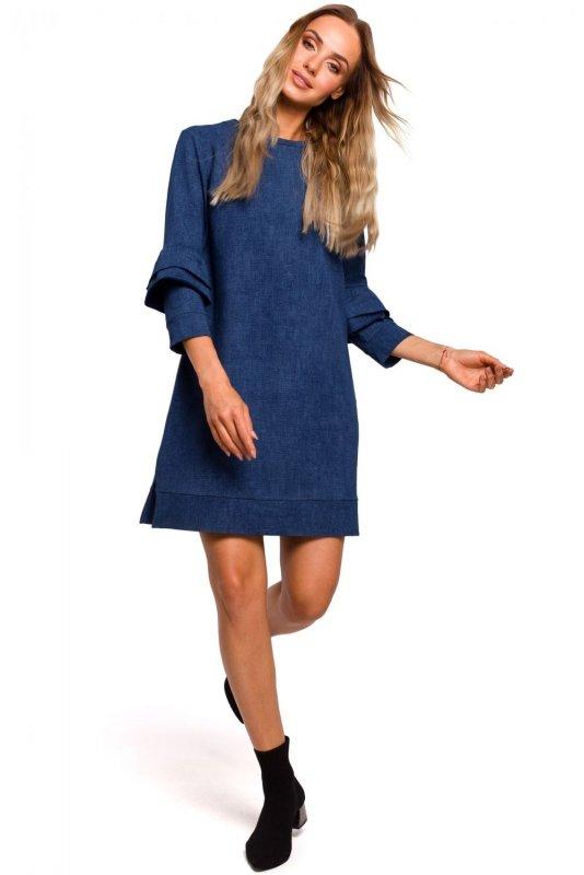 M446 Sukienka z falbankami przy rękawach gładka - denim