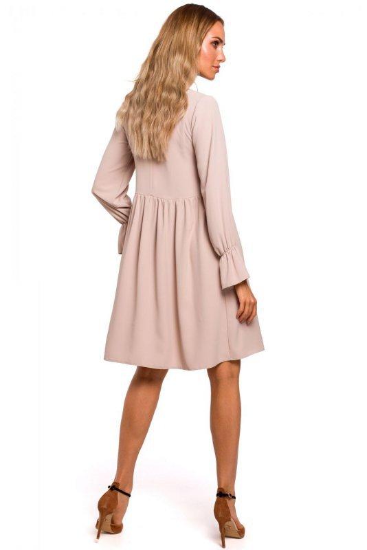 M465 Sukienka z rękawami z falbanką - beżowa