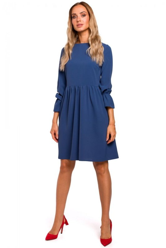M465 Sukienka z rękawami z falbanką - niebieska