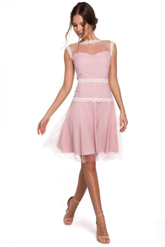 K030 Sukienka rozkloszowana w groszki - pudrowa