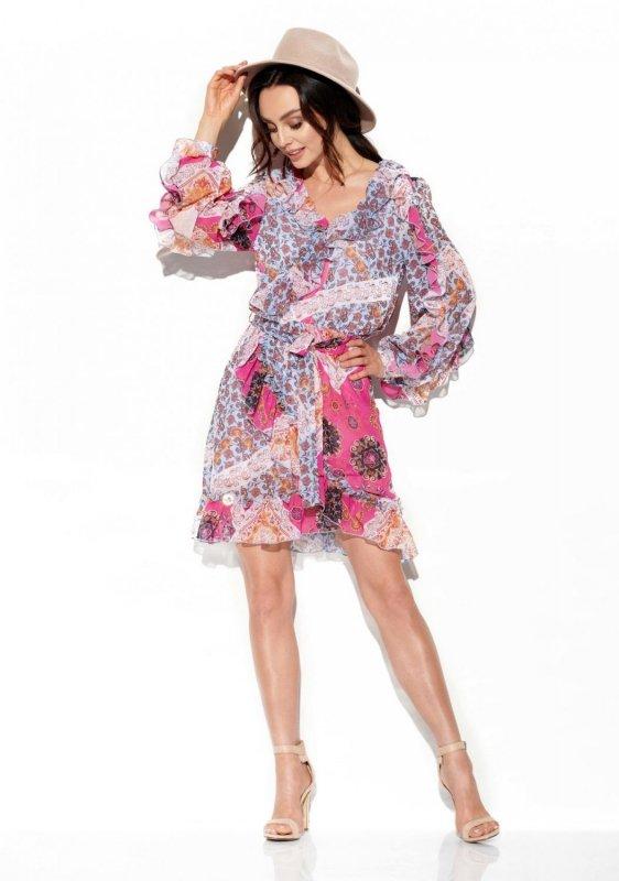 Szyfonowa sukienka z jedwabiem i falbankami wzór LG517 druk 16