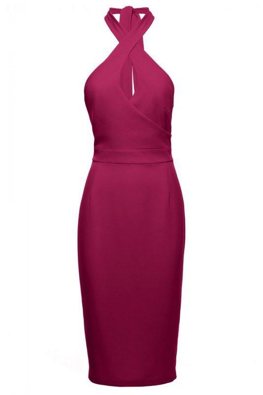 K043 Sukienka wiązana wokół szyi - śliwkowa