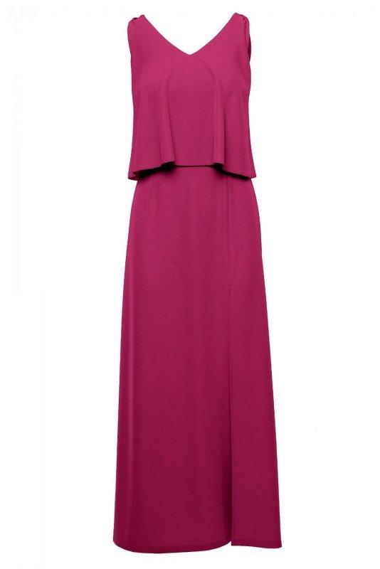 K048 Sukienka maxi z falbaną u góry - śliwkowa
